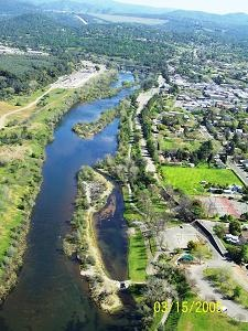 The Feather River runs through Downtown Oroville