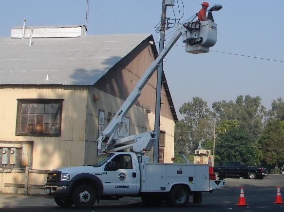 Electrician at Work on a street light